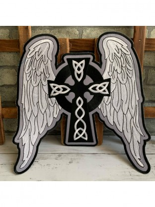 Blue and White Cross with Angel Wings Applique Patch Iron on